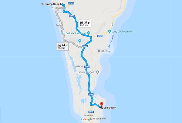 Bản đồ di chuyển tới khu vực bãi Sao Phú Quốc